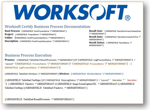 Overview of certify worksoft business process procedure you can see from the above template the report has two sections the first section displays root process project folder description result user fbccfo Gallery