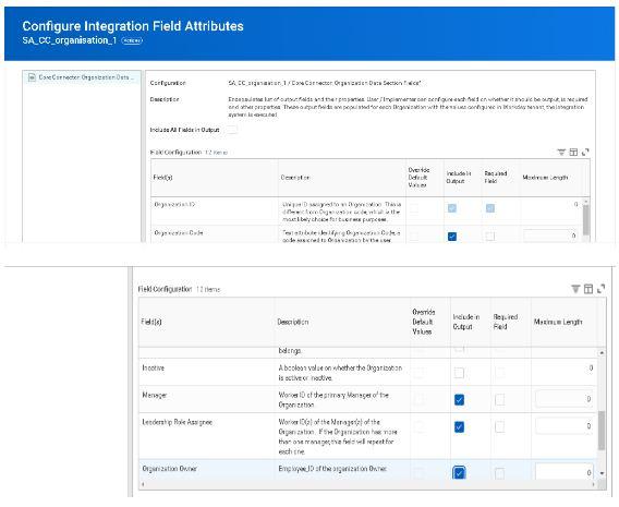 Configure integration feild attributes