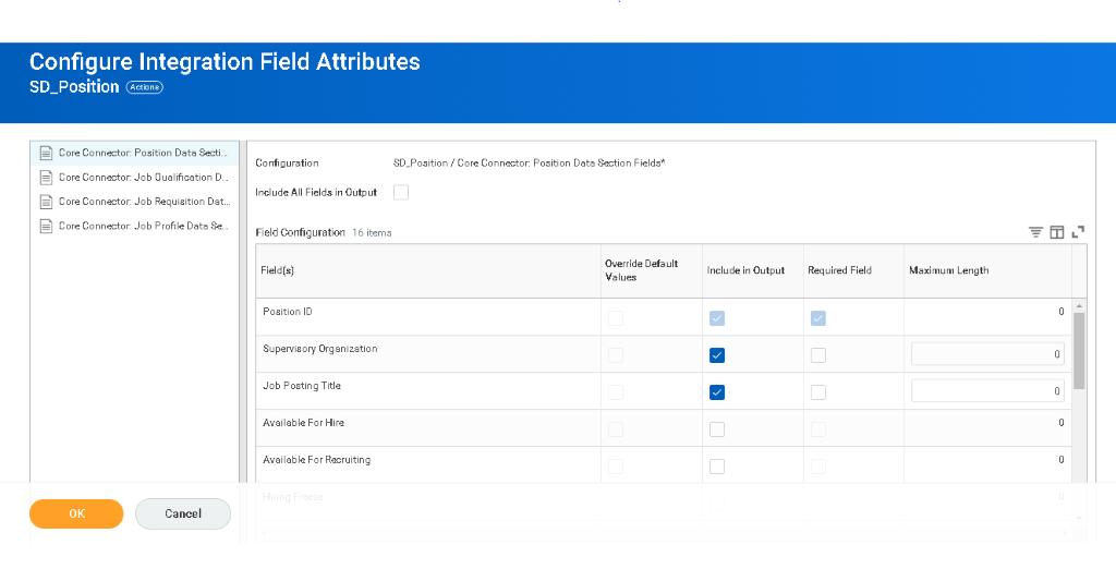 configure integration field attributes