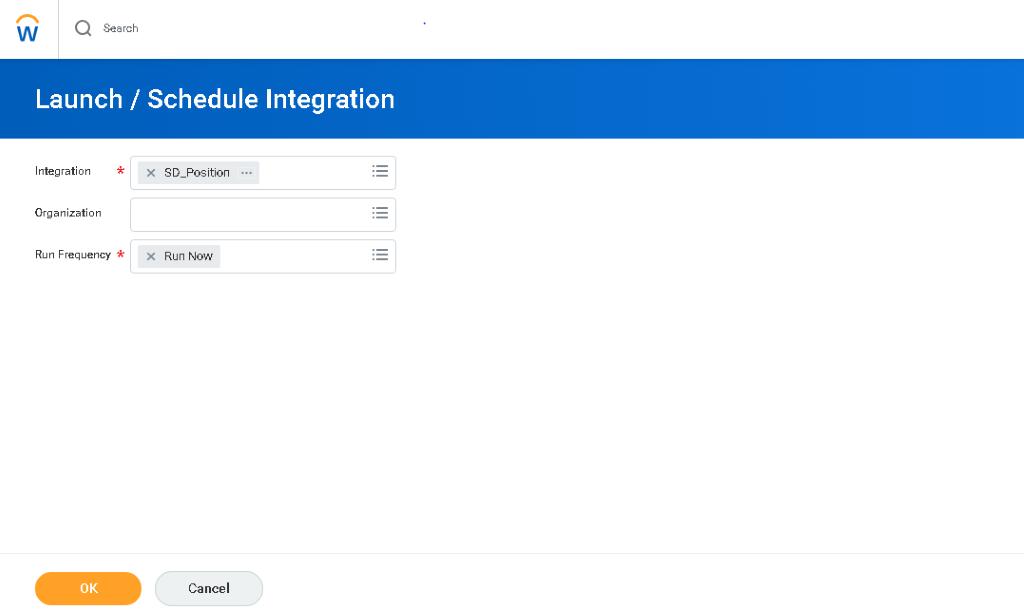 launch integration screen