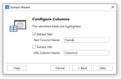 Extract wizard configure columns