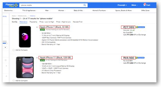 Flipkart and extract all iPhone mobile names and price