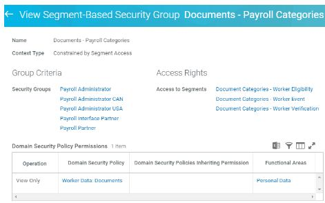 view segment based security group documents - payroll categories