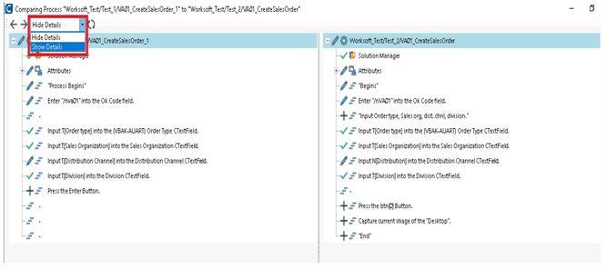Comparing process tool bar