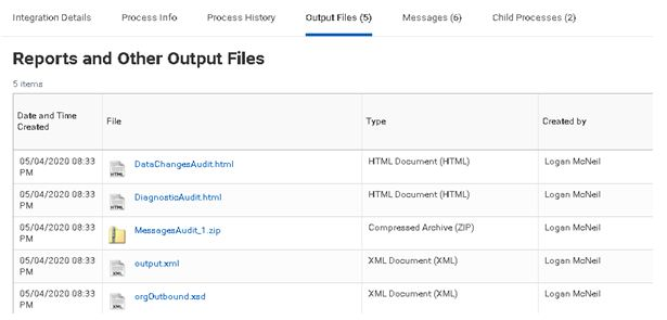 Reports and output file