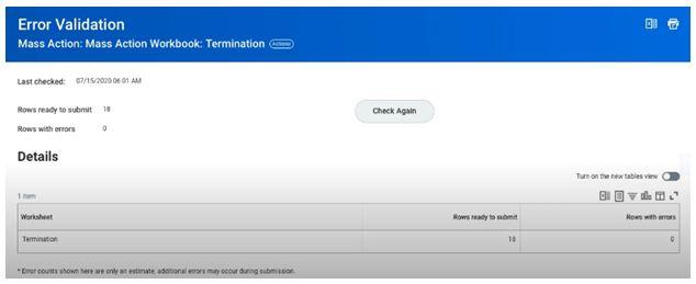 Error validation details