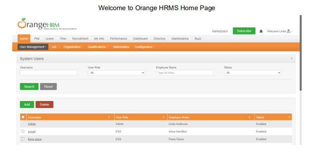 HRMS Home page