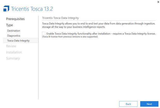 Tosca Integrity data