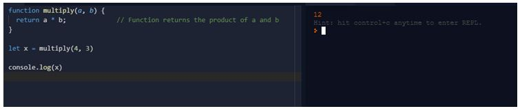 Function returns the product